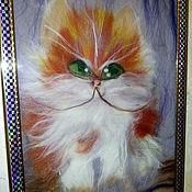 Картины и панно ручной работы. Ярмарка Мастеров - ручная работа картина из шерсти: КотБаюн. Handmade.