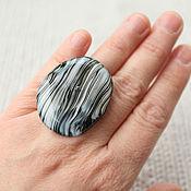 Украшения ручной работы. Ярмарка Мастеров - ручная работа Черно-белое большое кольцо. Handmade.