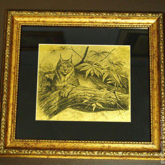 Животные ручной работы. Ярмарка Мастеров - ручная работа. Купить Рысь картина из сусального золота с изображением рыси. Handmade. Золото