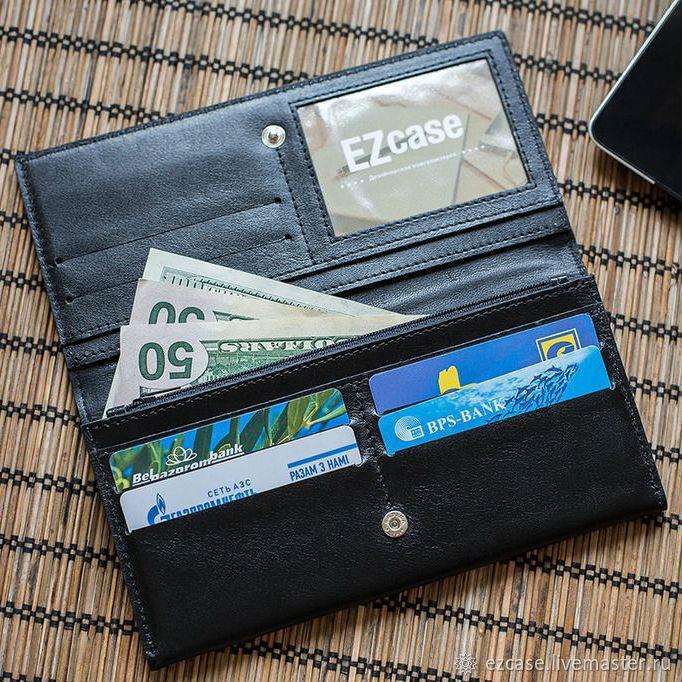 Flight genuine leather wallet (black), Wallets, Moscow,  Фото №1