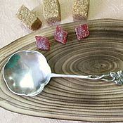 Винтажная серебряная ложка для сахара, Хильдескаймская роза, Швеция