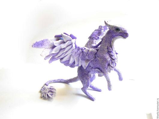 Сказочные персонажи ручной работы. Ярмарка Мастеров - ручная работа. Купить Дракон Перламутровая Фиалка (фигурка дракона фиолетового, маленькая). Handmade.