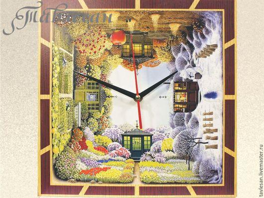 """Часы для дома ручной работы. Ярмарка Мастеров - ручная работа. Купить Часы настенные """"Времена года"""" квадратные. Handmade."""