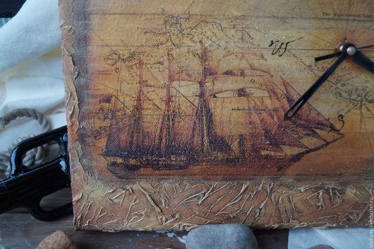 """Часы для дома ручной работы. Ярмарка Мастеров - ручная работа. Купить """"К далеким берегам..."""" Часы-фреска. Handmade."""