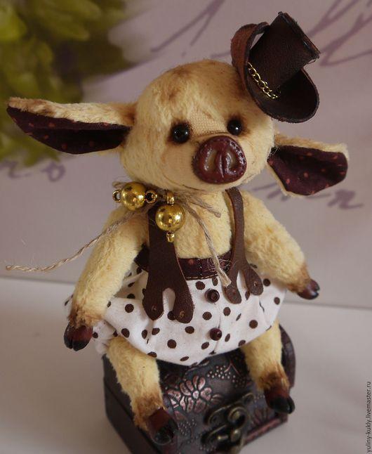 Мишки Тедди ручной работы. Ярмарка Мастеров - ручная работа. Купить Свинка тедди Сэми. Handmade. Лимонный, ковбойский стиль