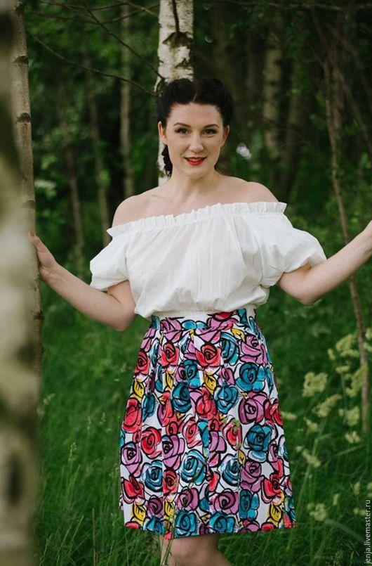 Юбки ручной работы. Ярмарка Мастеров - ручная работа. Купить Large roses and happy girl skirt by Candy Cottons. Handmade.