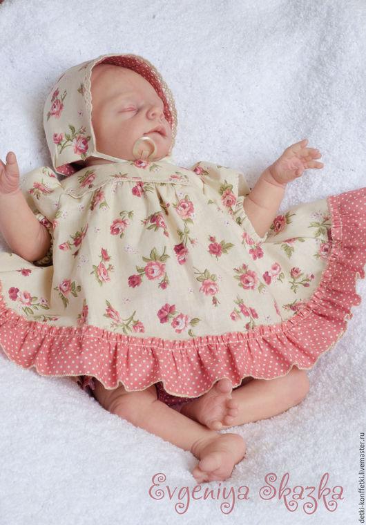 Для новорожденных, ручной работы. Ярмарка Мастеров - ручная работа. Купить Весенний цвет. Handmade. Кремовый, платье, одежда, пуговки