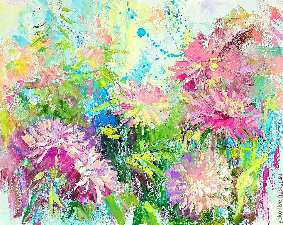 The painting 'Dahlias in the garden of Mae Fah Luang' (oil on canvas), Pictures, Voronezh,  Фото №1