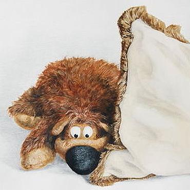 Картины и панно ручной работы. Ярмарка Мастеров - ручная работа картина Ведмедь спрятался и выглядывает (акварель, акрил). Handmade.