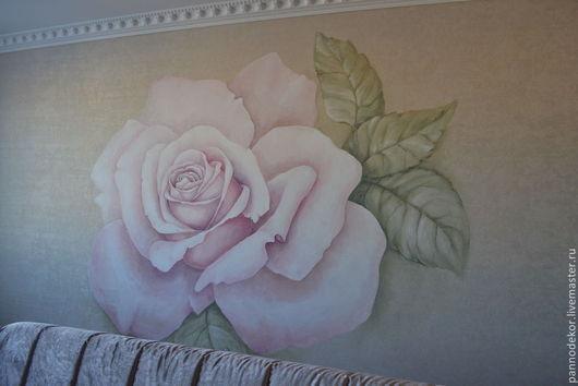 """Декор поверхностей ручной работы. Ярмарка Мастеров - ручная работа. Купить Роспись стены по обоям """"Роза"""". Handmade. Розовый"""