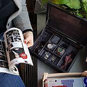 Шкатулки ручной работы. Ярмарка Мастеров - ручная работа Шкатулка для часов и запонок в сером. Handmade.