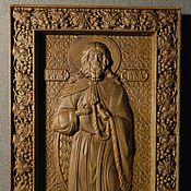 "Картины и панно handmade. Livemaster - original item Carved wooden Icon of ""Elijah the Prophet"". Handmade."