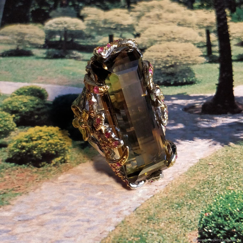 Серебряное кольцо с лимонным кварцем, изумрудом и рубином, Кольца, Новосибирск,  Фото №1