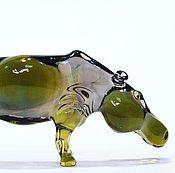 Подарки к праздникам handmade. Livemaster - original item Decorative figurine made of colored glass Hippo Helmut To.. Handmade.