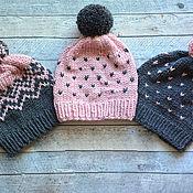 """Шапки ручной работы. Ярмарка Мастеров - ручная работа Молодежные теплые шапки """"Три подружки"""".. Handmade."""