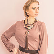 Украшения handmade. Livemaster - original item Jewelry set leather Agnetha. Jewelry set, necklace and earrings.. Handmade.