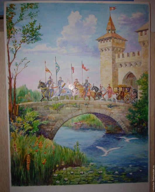 """Пейзаж ручной работы. Ярмарка Мастеров - ручная работа. Купить Акварель """"Замок"""". Handmade. Акварель, картина для интерьера, старинный замок"""
