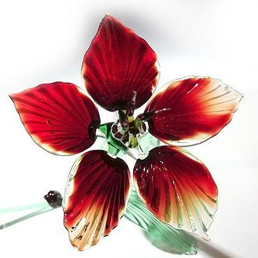 Flowers and floristry handmade. Livemaster - original item Glass fuchsia flower small brown as a gift. Handmade.