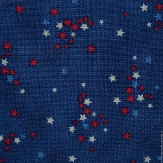 """Шитье ручной работы. Ярмарка Мастеров - ручная работа. Купить Ткань  хлопок  для пэчворка. РАСПРОДАЖА  """"Звезды на синем"""". США. Handmade."""
