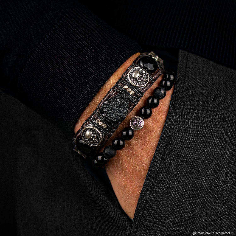 Natural Meteorite Leather Men's Bracelet with Onyx Skulls, Hard bracelet, Magnitogorsk,  Фото №1