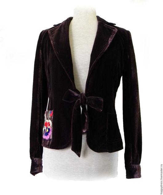 Пиджаки, жакеты ручной работы. Ярмарка Мастеров - ручная работа. Купить Бархатный жакет с вышивкой. Handmade. Купить бархатный жакет