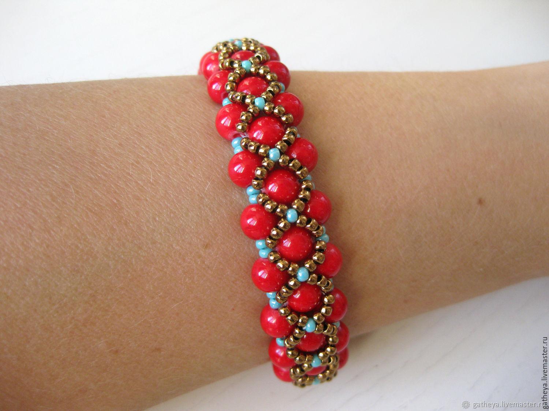 Яркий браслет из красных коралловых бусин Индийские специи