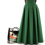 Зеленая юбка в пол из шерсти