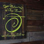 Картины и панно ручной работы. Ярмарка Мастеров - ручная работа Продавец волшебных палочек вывеска. Handmade.