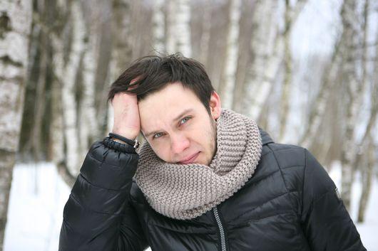 Шарфы и шарфики ручной работы. Ярмарка Мастеров - ручная работа. Купить Круговой вязаный шарф в два оборота, шарф-труба, хомут. Handmade.