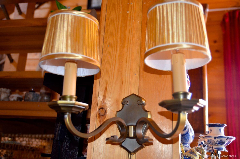 Винтаж: Настенный светильник из латуни с абажурами. Голландия, Предметы интерьера винтажные, Москва,  Фото №1