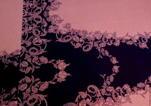 Шитье ручной работы. Ярмарка Мастеров - ручная работа. Купить Вискозное джерси - узоры цвета увядшей розы на черном. Handmade.