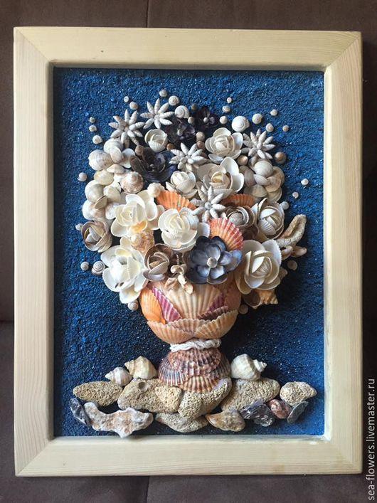 """Картины цветов ручной работы. Ярмарка Мастеров - ручная работа. Купить Картина панно """"Морской букет"""". Handmade. Комбинированный, ваза"""