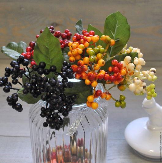 Ягоды Бузины на ветке 21см, 4 цвета