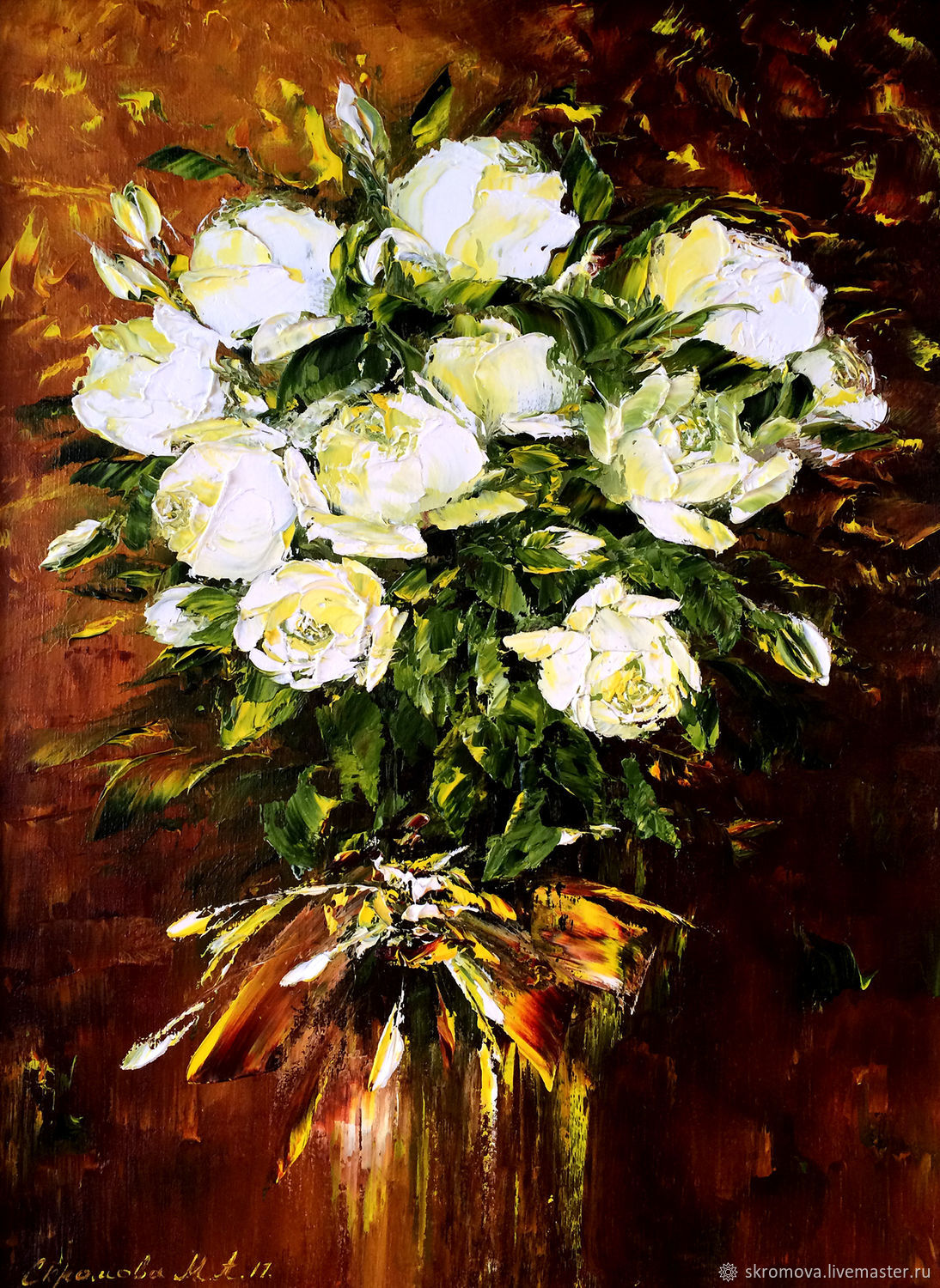 Oil Painting White Rose Shop Online On Livemaster With Shipping