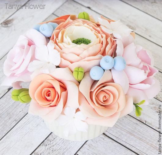 Интерьерные композиции ручной работы. Ярмарка Мастеров - ручная работа. Купить Розово-персиковый мини букет. Handmade. Цветы, оазис