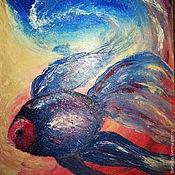 Картины и панно ручной работы. Ярмарка Мастеров - ручная работа Картина маслом Подводный мир. Handmade.