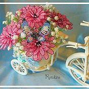 """Цветы и флористика ручной работы. Ярмарка Мастеров - ручная работа Композиция """"Велосипед (моно цветы)"""". Handmade."""