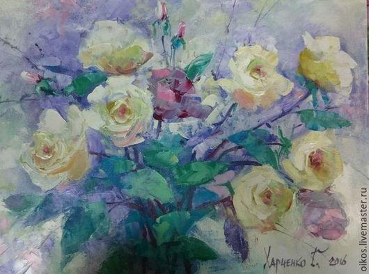 Картины цветов ручной работы. Ярмарка Мастеров - ручная работа. Купить картина маслом на холсте с розами мастихином подарок женщине. Handmade.
