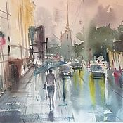 """Картины и панно ручной работы. Ярмарка Мастеров - ручная работа """"Дождливый день"""", акварель. Handmade."""