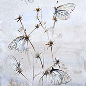 """Картины и панно ручной работы. Ярмарка Мастеров - ручная работа Картина акварелью """"Невесомые бабочки и сухоцветы"""". Handmade."""