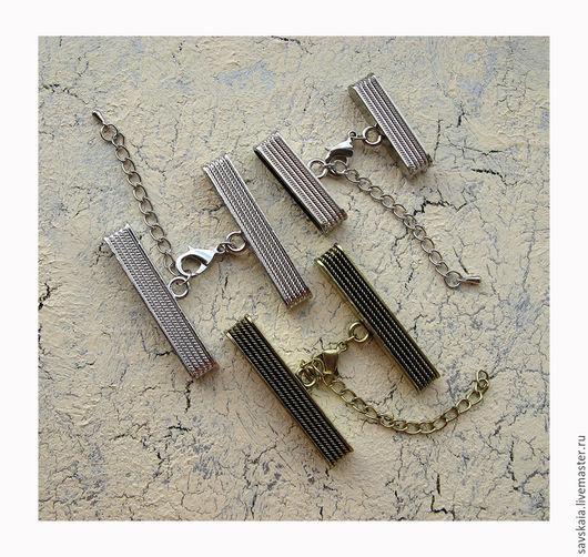 Зажим-концевик c застежкой карабин и цепочкой для регулировки размера