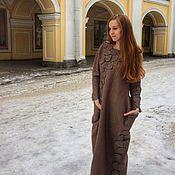 """Одежда ручной работы. Ярмарка Мастеров - ручная работа Платье валяное коричневое """"пепел"""". Handmade."""