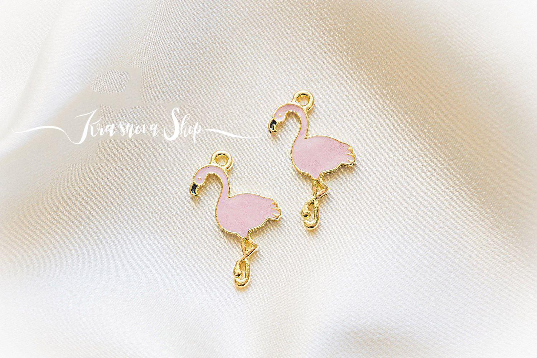 """ручной работы. Ярмарка Мастеров - ручная работа. Купить Набор подвесок """"Фламинго"""", 2 штуки. Handmade. Брошь, золотой"""