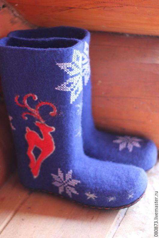 """Обувь ручной работы. Ярмарка Мастеров - ручная работа. Купить Валенки """"Скандинавские"""" ручной валик,  подшитые каучуком. Handmade. Синий"""