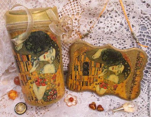 """Ванная комната ручной работы. Ярмарка Мастеров - ручная работа. Купить """"Влюбленные"""" Климт.Мини-мусорка и панно. Handmade. Набор"""