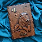 "Канцелярские товары handmade. Livemaster - original item Leather notebook ""LEO"". Handmade."