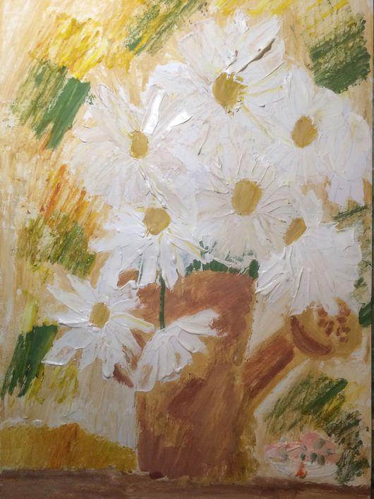 Картины цветов ручной работы. Ярмарка Мастеров - ручная работа. Купить Ромашицы. Handmade. Ромашка, цветы, лейка, гуашь
