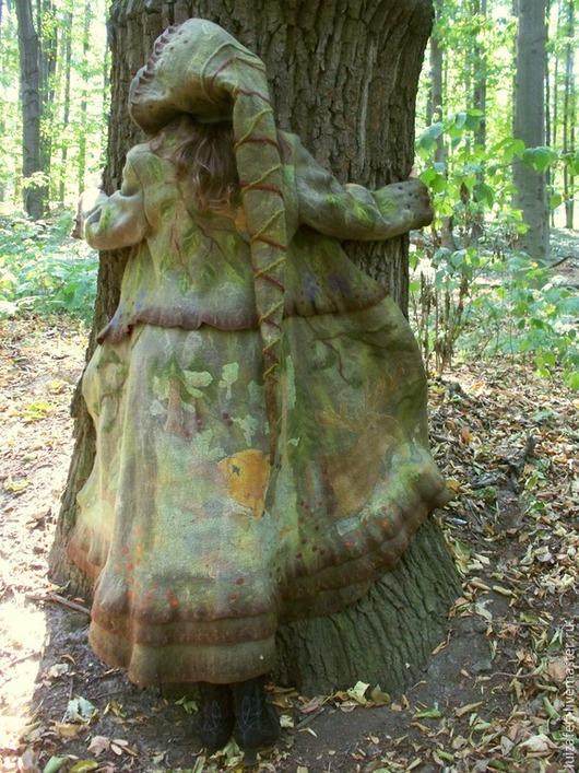 Верхняя одежда ручной работы. Ярмарка Мастеров - ручная работа. Купить Валяное пальто Духи леса. Handmade. эльфийское пальто