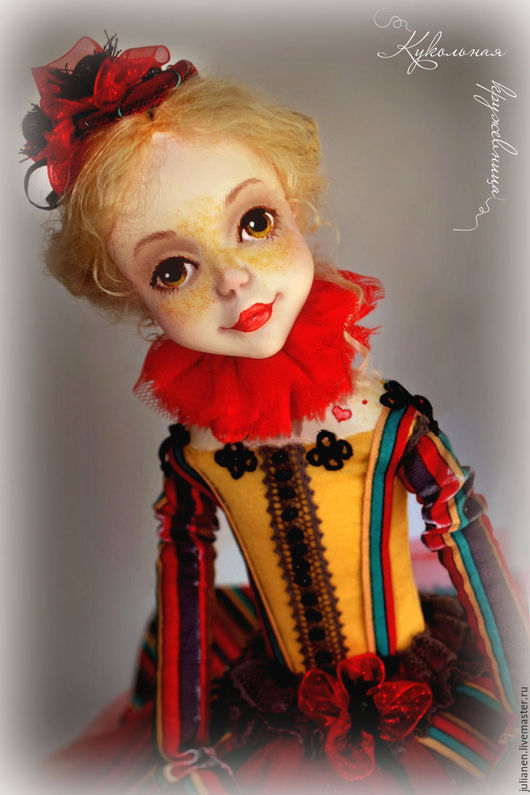 """Коллекционные куклы ручной работы. Ярмарка Мастеров - ручная работа. Купить Коломбина """"Маковка"""". Handmade. Ярко-красный, женщинам, акварель"""