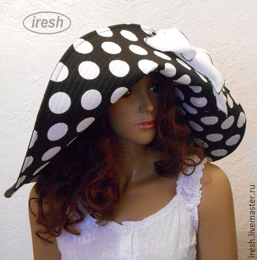 """Шляпы ручной работы. Ярмарка Мастеров - ручная работа. Купить Шляпа """"Пляжный шик"""" широкополая женская чёрная в горошек. Handmade."""